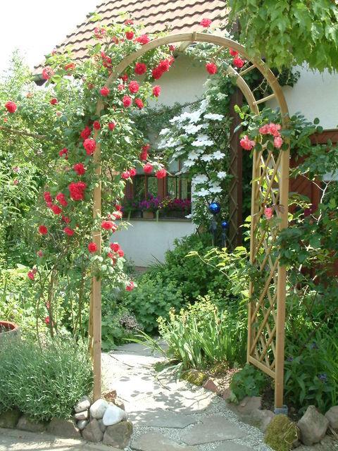 Vorgarten mit Rosenbogen