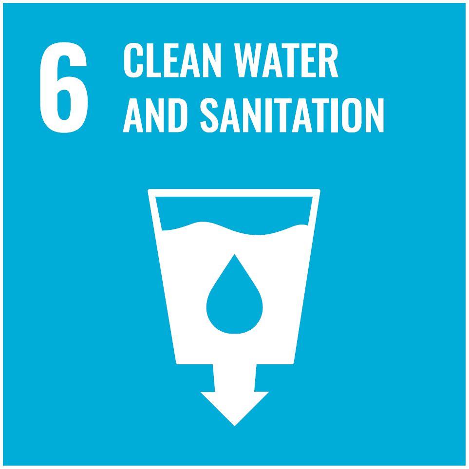 Icon des 6. Ziel zur nachhaltigen Entwicklung mit der Aufschrift