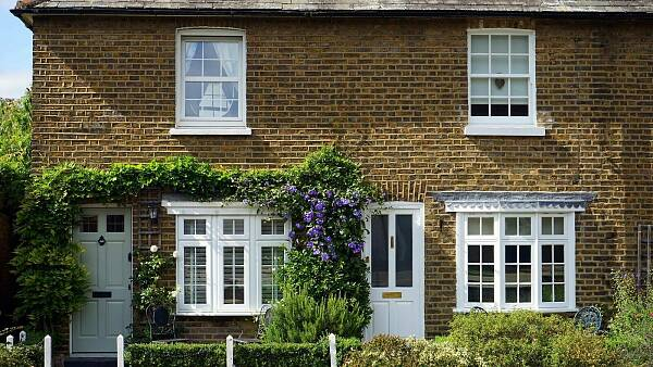 Themenbild: Hausfront in Backsteinoptik mit weißen Türen und Fenstern. Die Tür ist von grünen Pflanzen umgeben