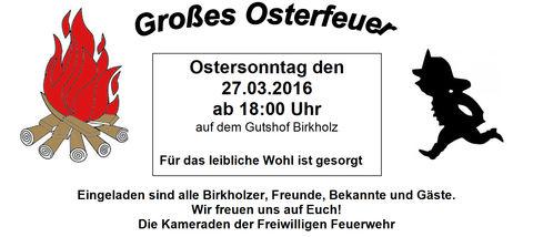 Einladung zum Osterfeuer 2016