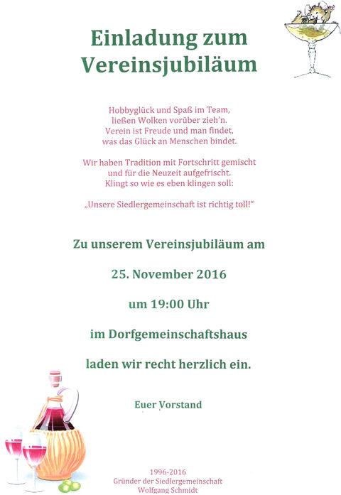 25.11.2016 20 Jahre Siedlergemeinschaft Birkholz