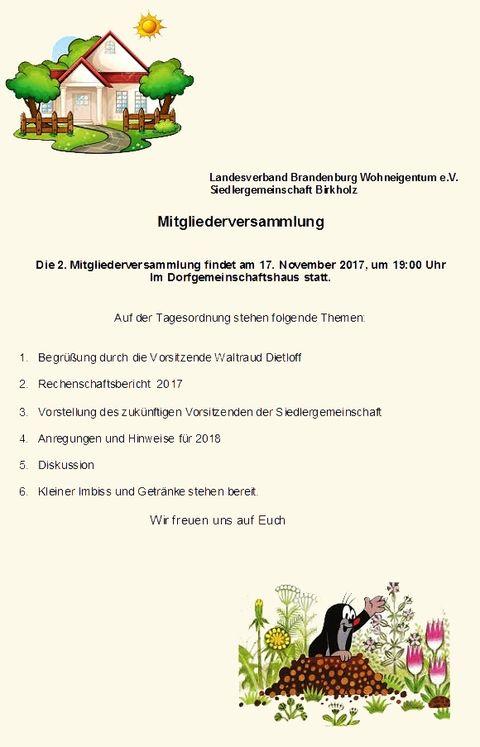 Einladung 2. Mitgliederversamlung
