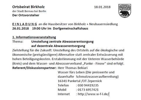 Einladung dezentrale Abwasserentsorgung