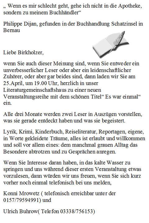 Einladung ins LiteraturgDorfemeinschaftshaus Birkholz