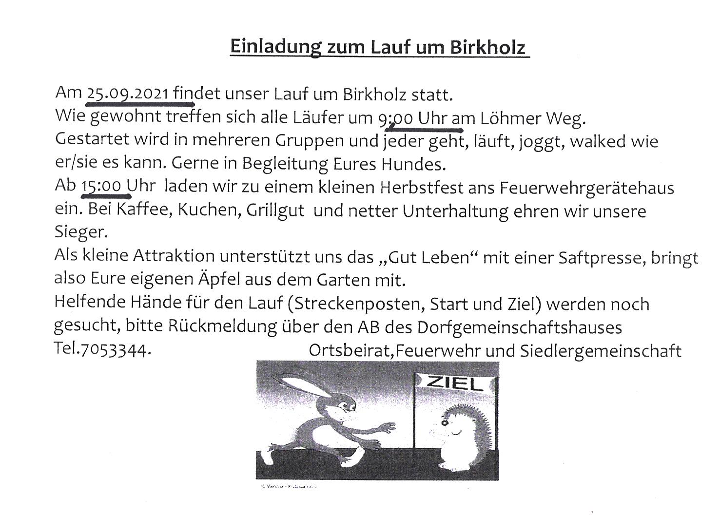 Lauf um Birkholz & Herbstfest
