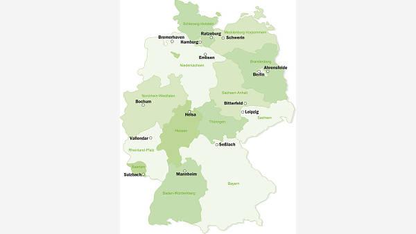 Themenbild: Deutschlandkarte mit Orten der teilnehmenden Gemeinschaften