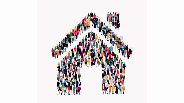 Themenbild: Symbol eines Hauses, das aus vielen Menschen besteht
