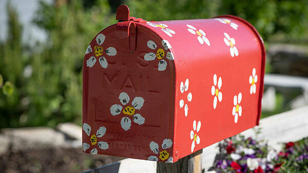 Themenbild: bunter Briefkasten mit Blumen