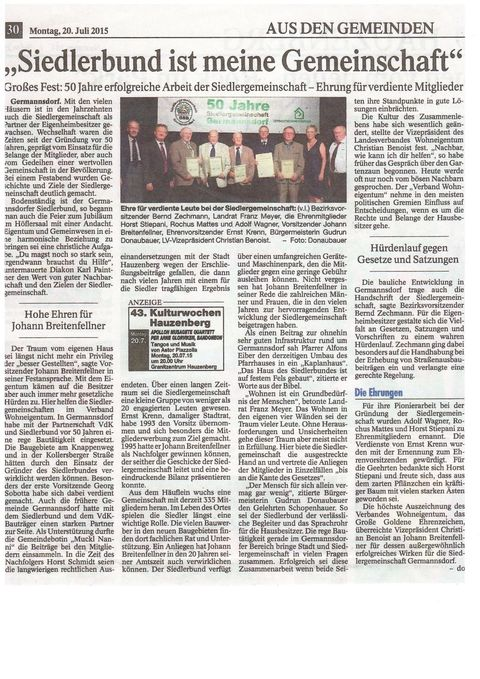 PNP-Bericht vom Festabend unserer Jubiläumsfeier am 17. Juli 2015
