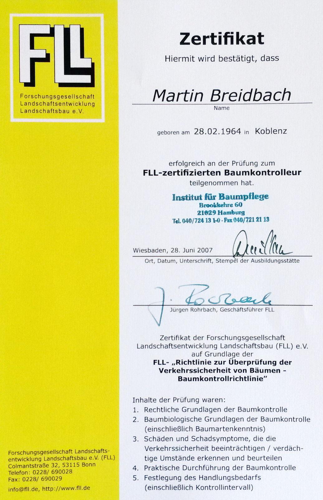 Zertifikat der Forschungsgesellschaft Landschaftsentwickluung Landschaftsbau
