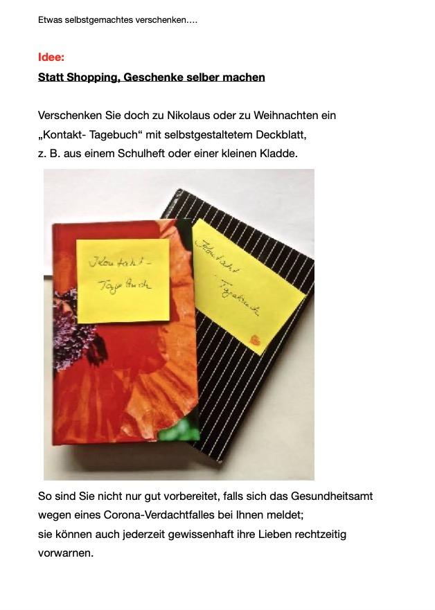 Kontakt Tagebuch - Anleitung