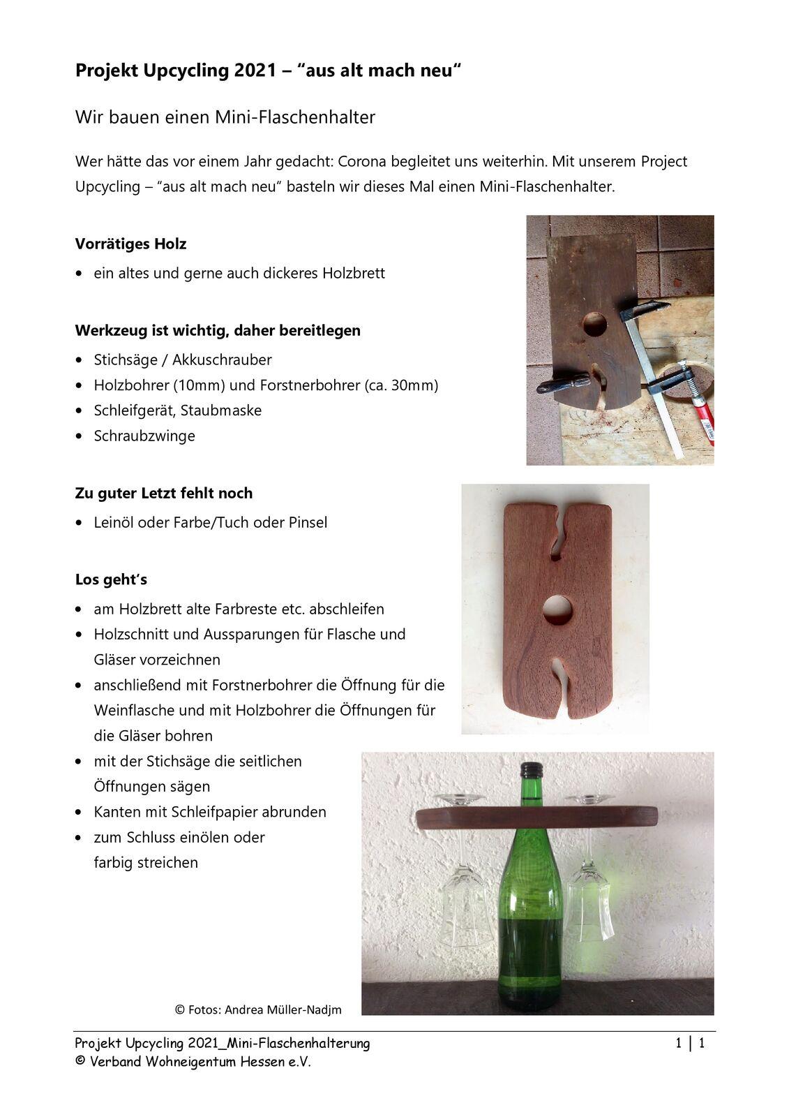 Anleitung für den Bau eines Flaschenhalters