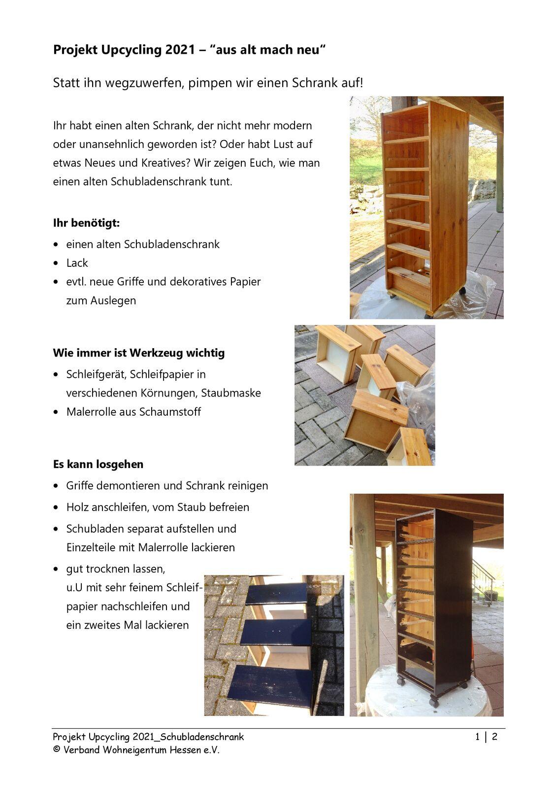 Anleitung Schubladenschrank Seite 1