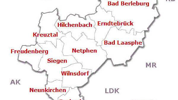 Themenbild: Bezirkskarte Siegen