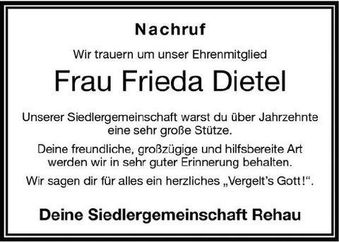 Nachruf Frieda Dietel