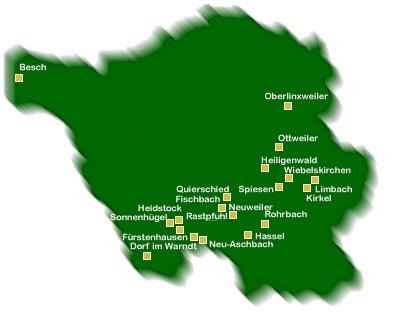 Saarlandkarte zeigt die ungefähre Lage der Ortsverbände.