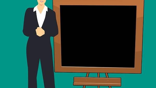 Themenbild: Skizze einer stehenden Dame vor einer Tafel