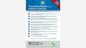 10 goldene Regeln für ein sicheres Zuhause !