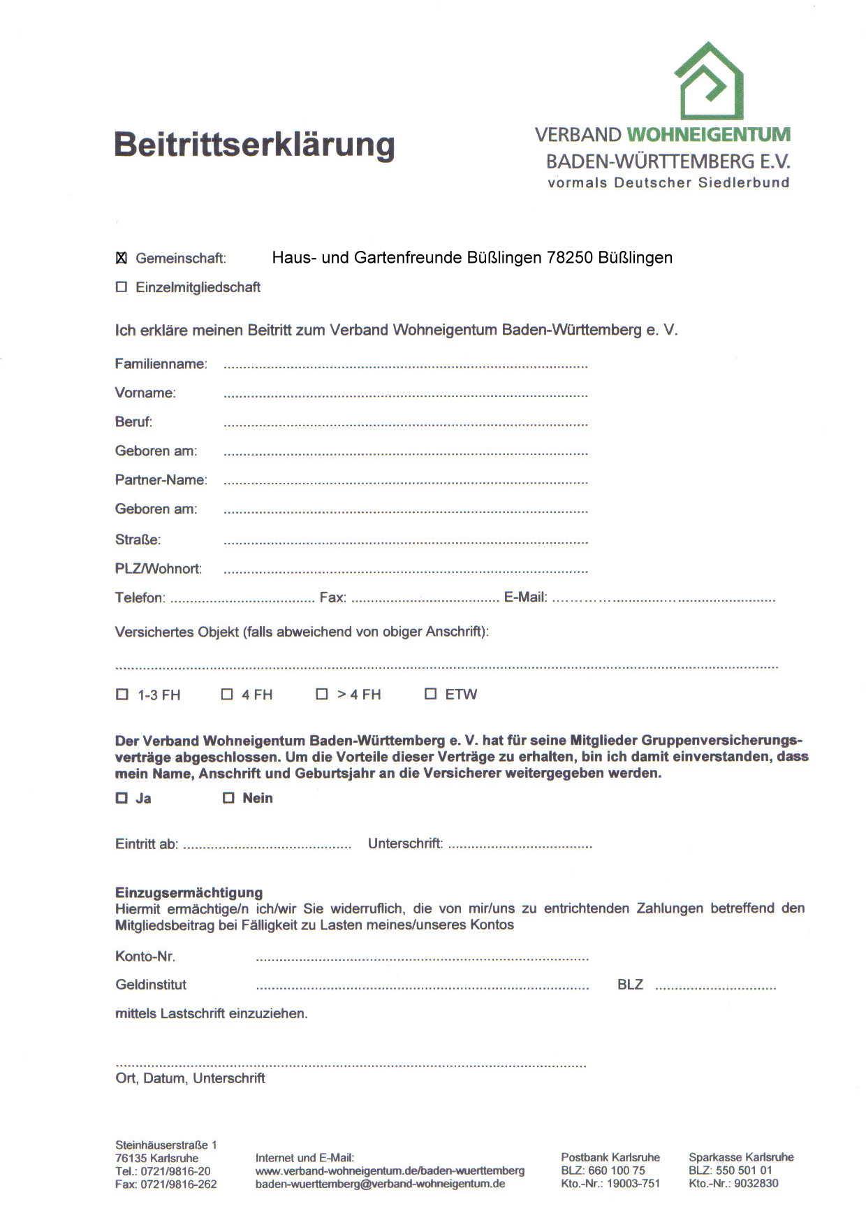 Mitglied werden | Verband Wohneigentum e.V.