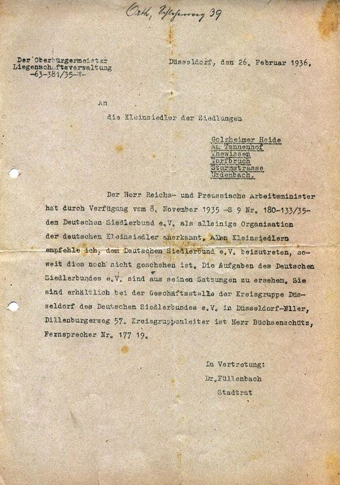 1936 Eintritt in den Deutschen Siedlerbund