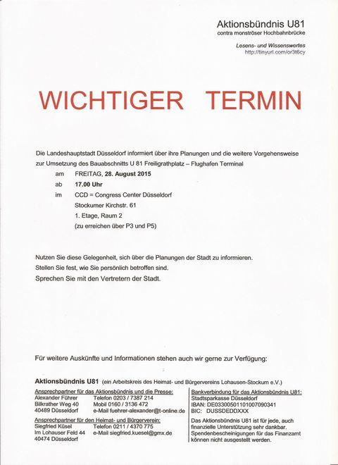 U81 Info-Termin der Stadt Düsseldorf