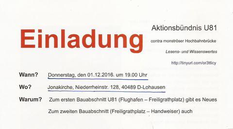 Einladung in die Jonakriche am 1.12.16