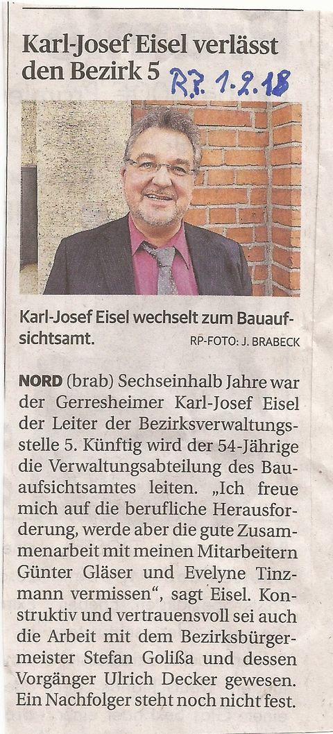 Karl-Josef Eisel verlässt Bezirk 5