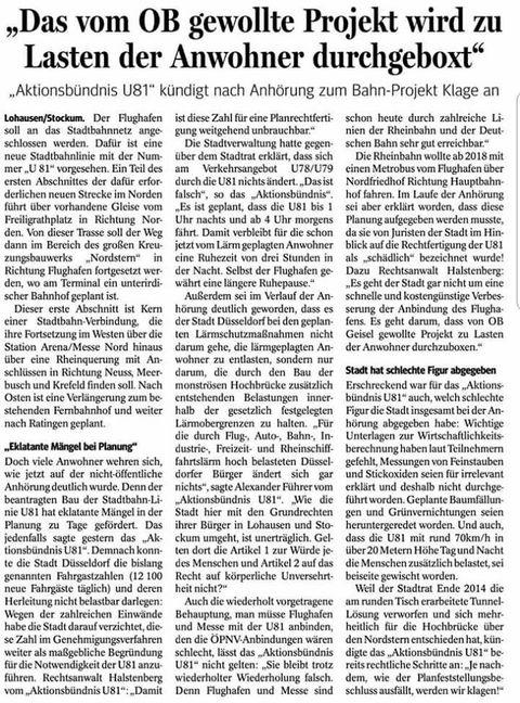 Pressemeldung Aktionsbündnis U81