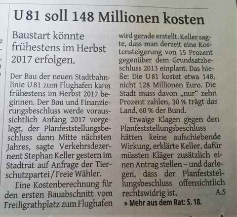 Kosten 1. Bauabschnitt U81 = U82