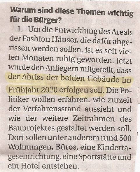 Fashion-Häuser Abriss 2020