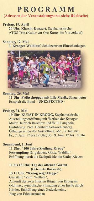 100 Jahre Siedlung Kroog Programm Teil 1