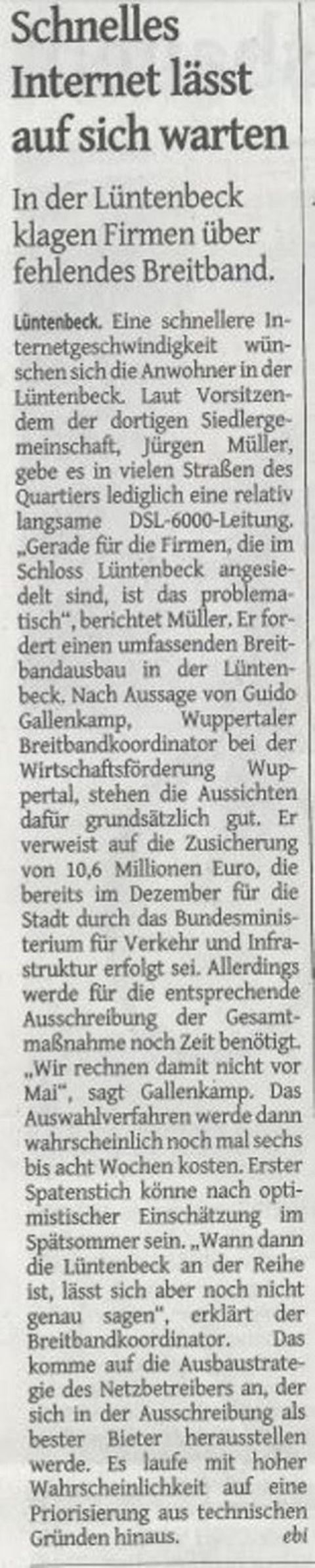 Bericht in der Westdeutschen Zeitung