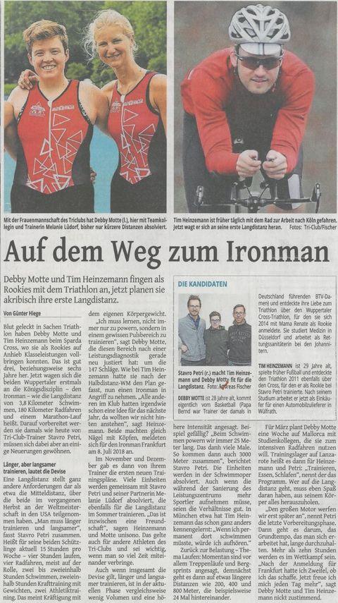 WZ Berich über Tim Heinzemann 14.02.2018