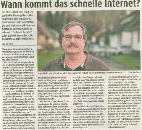 Rundschau Wuppertal Bericht für den Breidbandausbau
