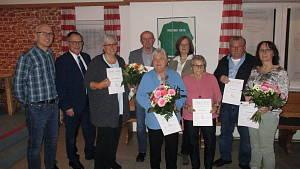 Gruppenbild der Geehrten bei der Jahreshauptversammlung 2020