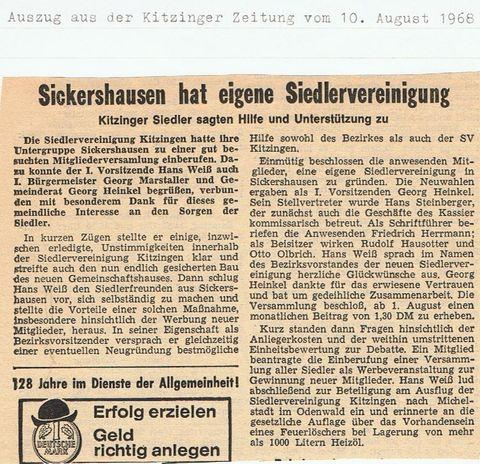 Berichterstattung Kitzinger Zeitung zur Gründungsversammlung