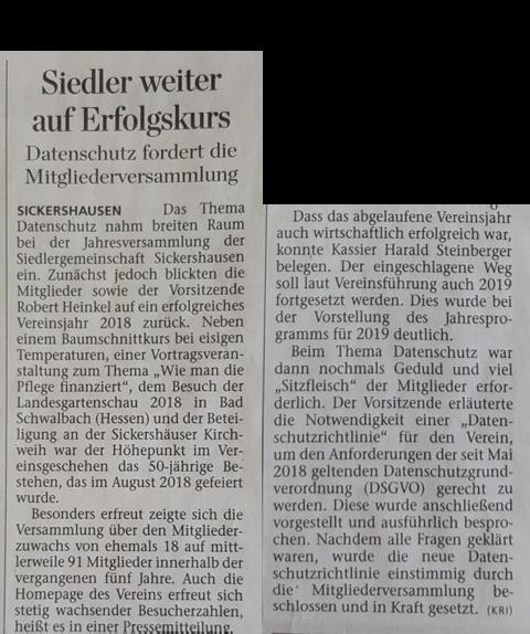 Pressebericht DIE KITZINGER vom 12.03.2019