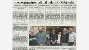 Pressebericht Siedlergemeinschaft Sickershausen Jahreshauptversammlung Neuwahlen 2020