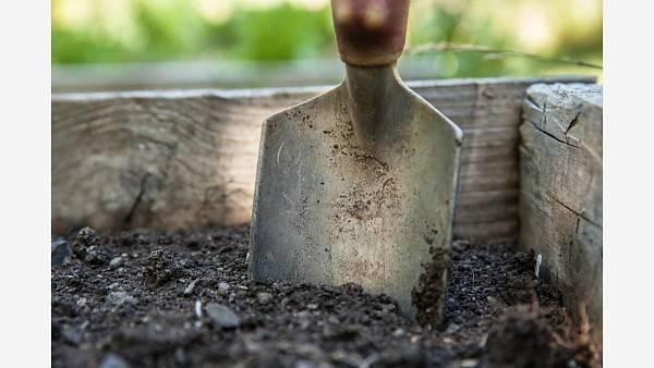 Themenbild: Gartenarbeit Spaten Erde
