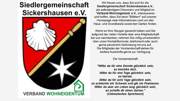 Themenbild: Logo Siedlergemeinschaft Sickershausen willkommen Homepage Kontakt Vorstandschaft