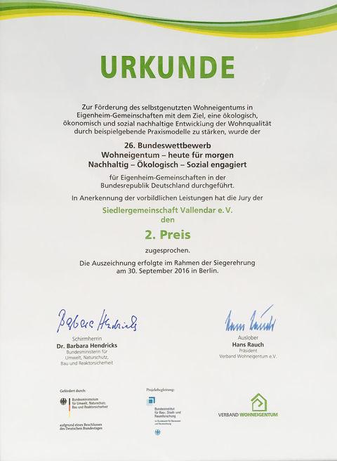 Urkunde Bundeswettbewerb 2016